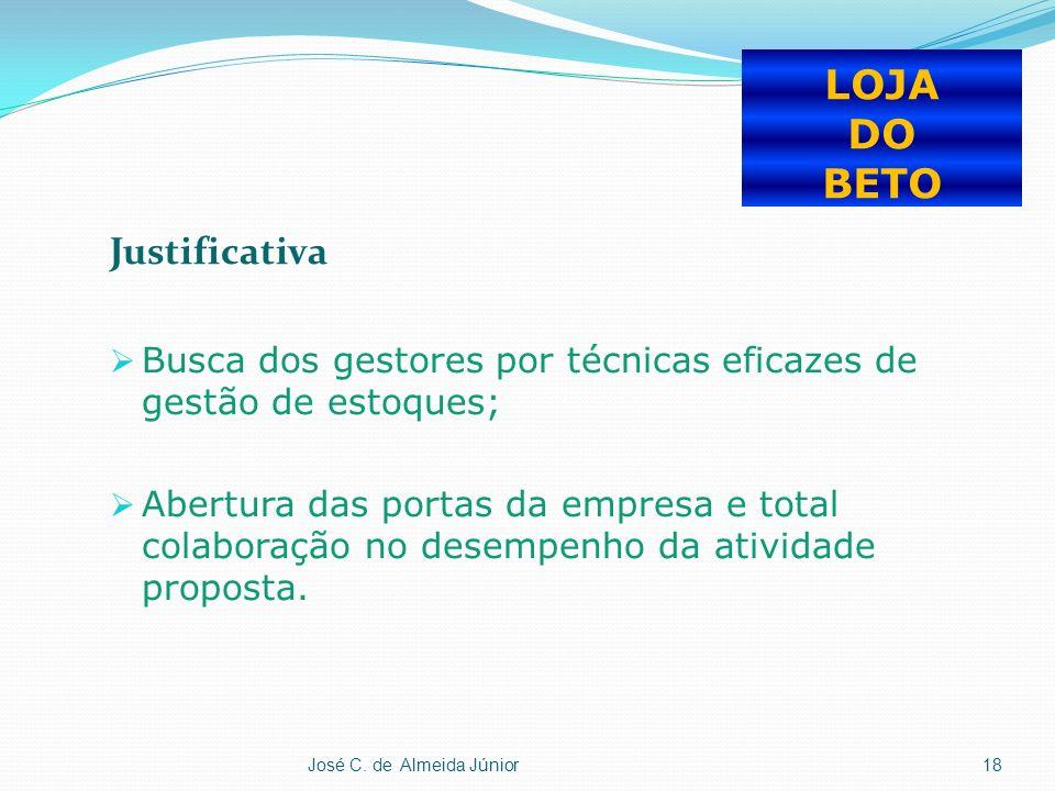 Justificativa Busca dos gestores por técnicas eficazes de gestão de estoques; Abertura das portas da empresa e total colaboração no desempenho da atividade proposta.
