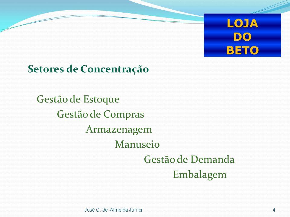 Setores de Concentração Gestão de Estoque Gestão de Compras Armazenagem Manuseio Gestão de Demanda Embalagem José C.