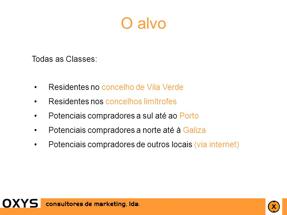 15 OXYS Todas as Classes: consultores de marketing, lda. O alvo Residentes no concelho de Vila Verde Residentes nos concelhos limítrofes Potenciais co