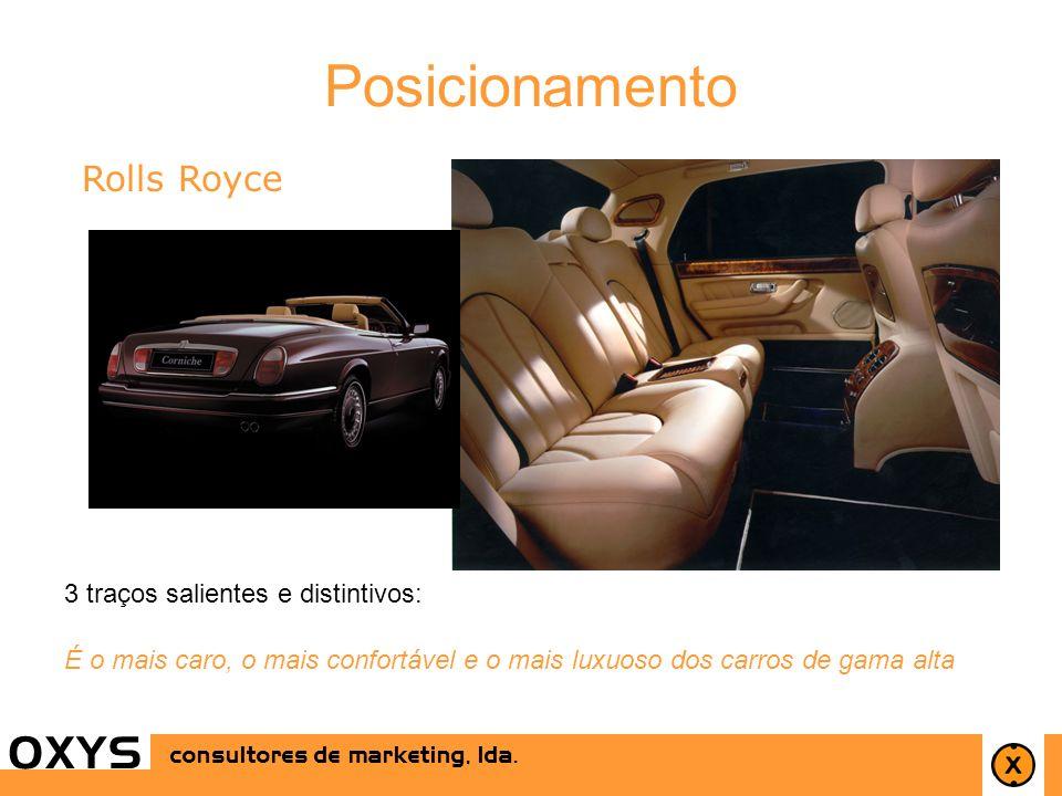 9 OXYS consultores de marketing, lda. Rolls Royce 3 traços salientes e distintivos: É o mais caro, o mais confortável e o mais luxuoso dos carros de g