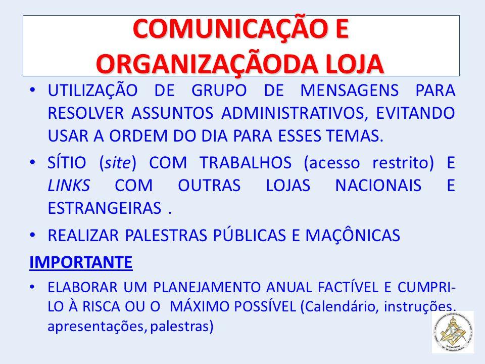 COMUNICAÇÃO E ORGANIZAÇÃODA LOJA UTILIZAÇÃO DE GRUPO DE MENSAGENS PARA RESOLVER ASSUNTOS ADMINISTRATIVOS, EVITANDO USAR A ORDEM DO DIA PARA ESSES TEMAS.