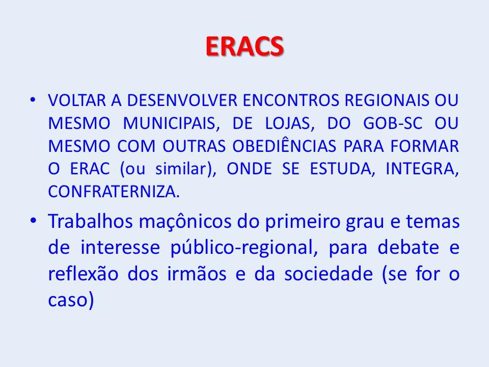 ERACS VOLTAR A DESENVOLVER ENCONTROS REGIONAIS OU MESMO MUNICIPAIS, DE LOJAS, DO GOB-SC OU MESMO COM OUTRAS OBEDIÊNCIAS PARA FORMAR O ERAC (ou similar), ONDE SE ESTUDA, INTEGRA, CONFRATERNIZA.