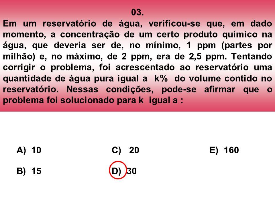 03. Em um reservatório de água, verificou-se que, em dado momento, a concentração de um certo produto químico na água, que deveria ser de, no mínimo,