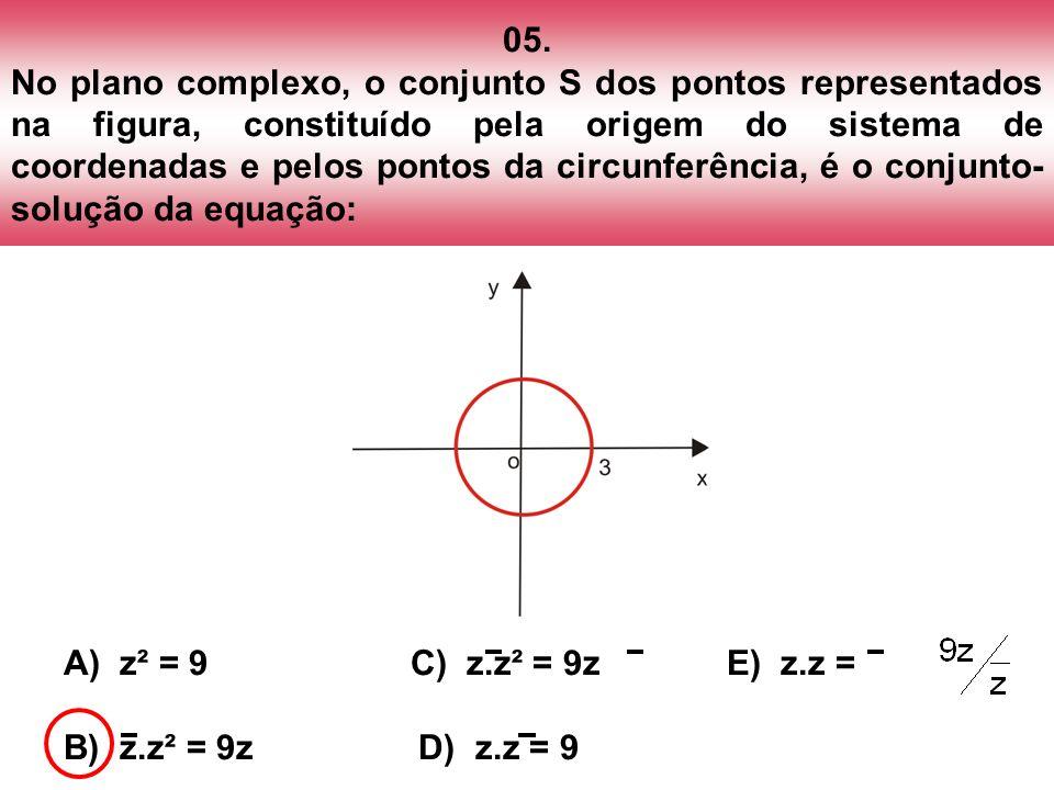 05. No plano complexo, o conjunto S dos pontos representados na figura, constituído pela origem do sistema de coordenadas e pelos pontos da circunferê