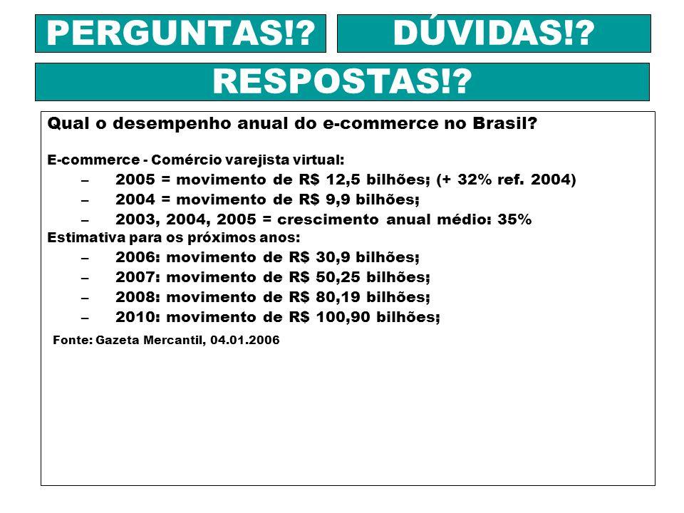 Qual o desempenho anual do e-commerce no Brasil? E-commerce - Comércio varejista virtual: –2005 = movimento de R$ 12,5 bilhões; (+ 32% ref. 2004) –200