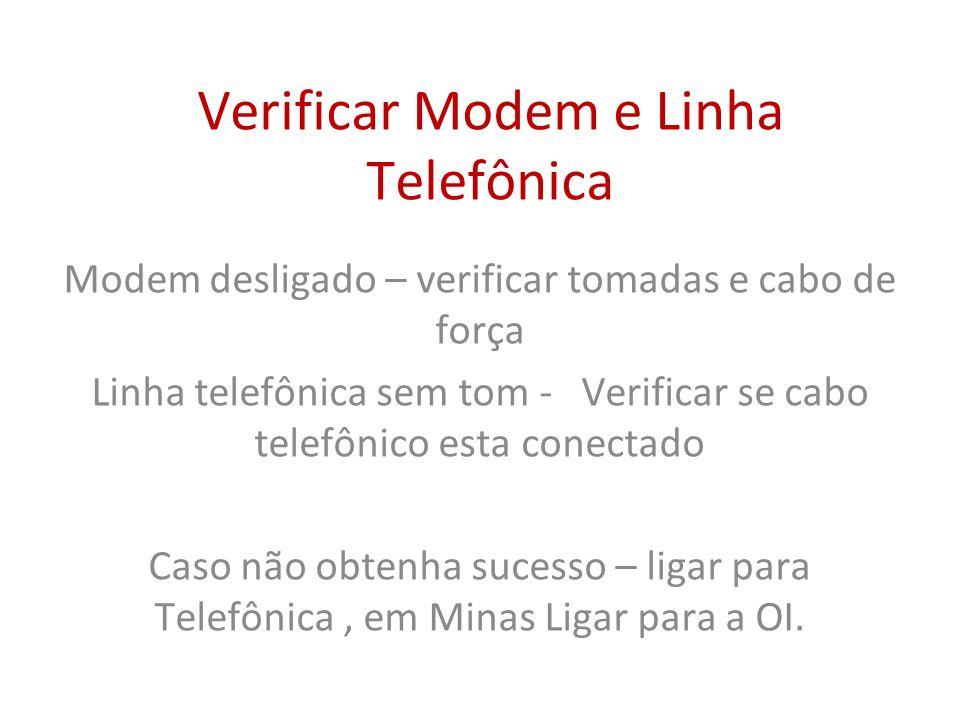 Verificar Modem e Linha Telefônica Modem desligado – verificar tomadas e cabo de força Linha telefônica sem tom - Verificar se cabo telefônico esta co