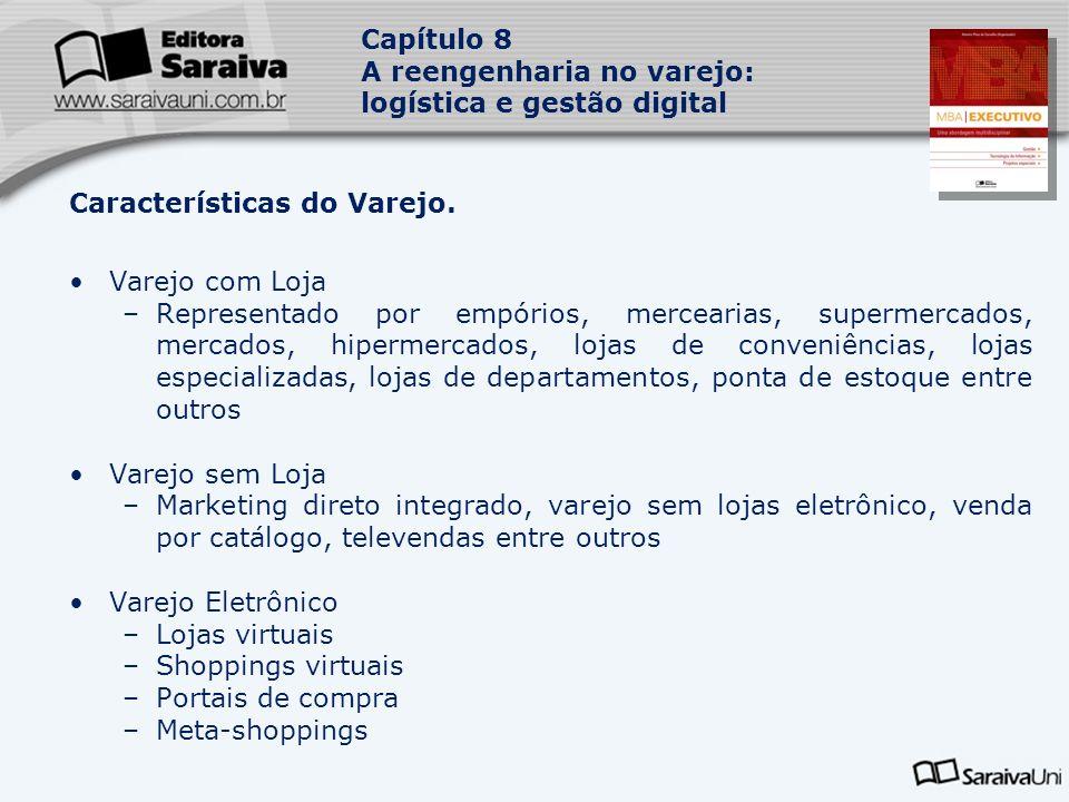 Capítulo 8 A reengenharia no varejo: logística e gestão digital Características do Varejo.