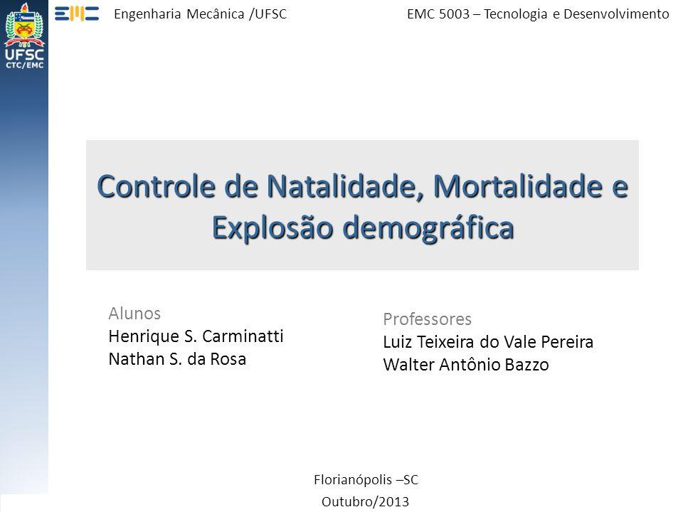Controle de Natalidade, Mortalidade e Explosão demográfica Florianópolis –SC Outubro/2013 Alunos Henrique S. Carminatti Nathan S. da Rosa Professores
