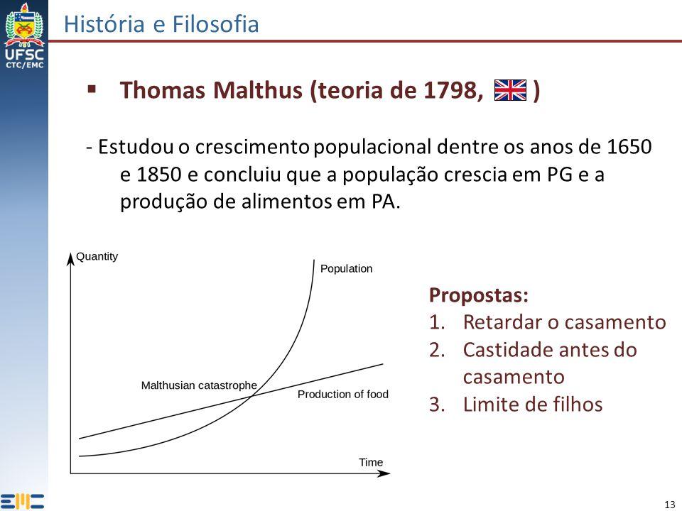 13 História e Filosofia Thomas Malthus (teoria de 1798, ) - Estudou o crescimento populacional dentre os anos de 1650 e 1850 e concluiu que a população crescia em PG e a produção de alimentos em PA.