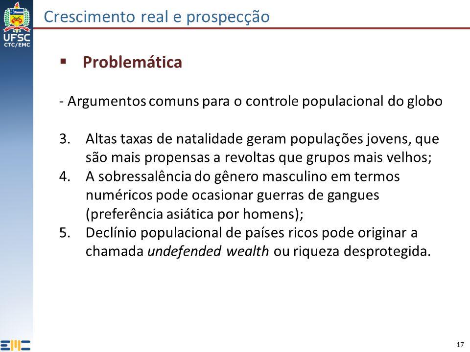 17 Crescimento real e prospecção Problemática - Argumentos comuns para o controle populacional do globo 3.Altas taxas de natalidade geram populações j