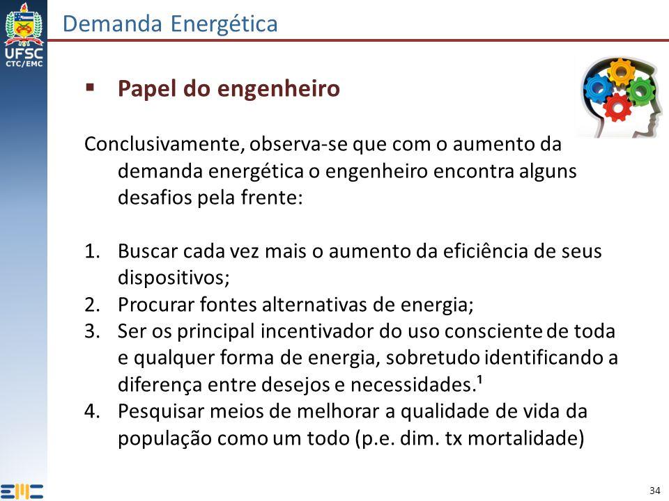 34 Demanda Energética Papel do engenheiro Conclusivamente, observa-se que com o aumento da demanda energética o engenheiro encontra alguns desafios pe