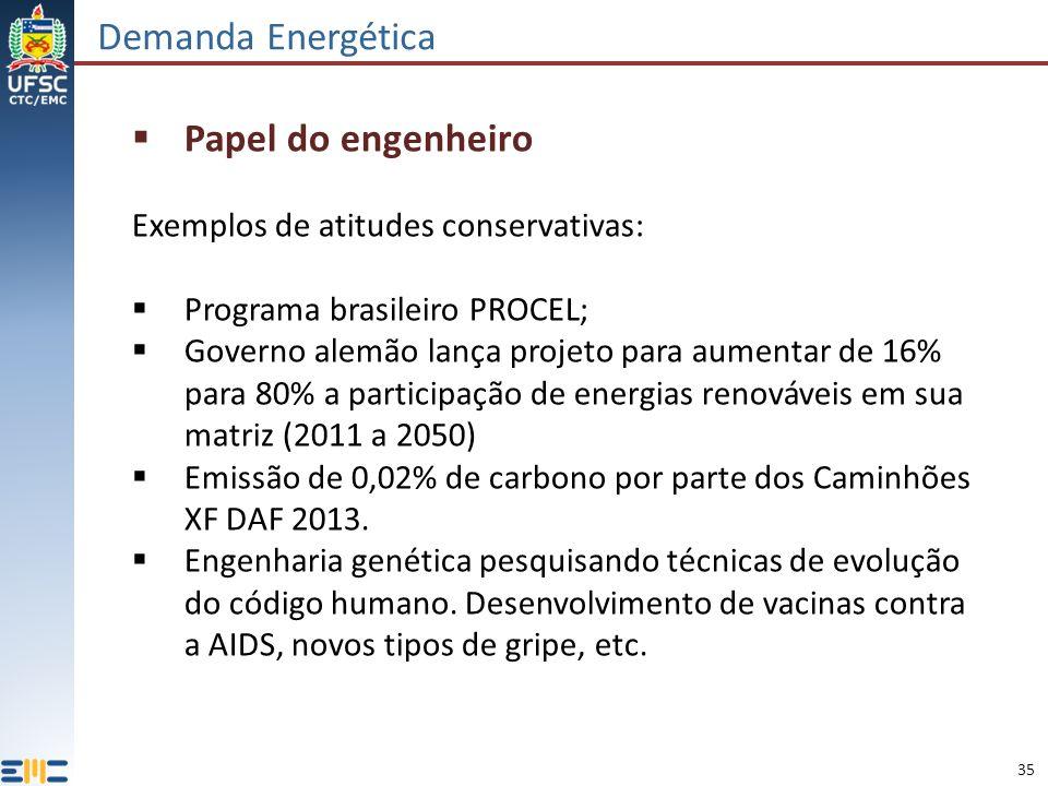 35 Demanda Energética Papel do engenheiro Exemplos de atitudes conservativas: Programa brasileiro PROCEL; Governo alemão lança projeto para aumentar de 16% para 80% a participação de energias renováveis em sua matriz (2011 a 2050) Emissão de 0,02% de carbono por parte dos Caminhões XF DAF 2013.