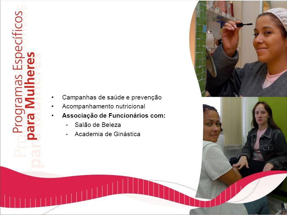 Campanhas de saúde e prevenção Acompanhamento nutricional Associação de Funcionários com: -Salão de Beleza -Academia de Ginástica