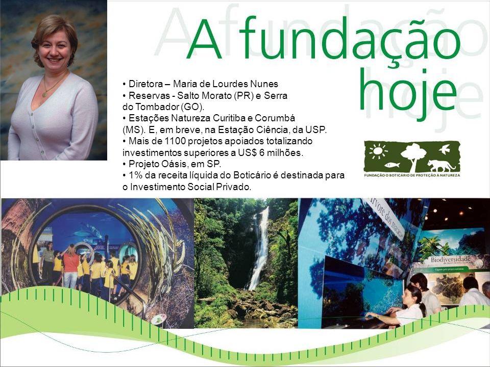 Diretora – Maria de Lourdes Nunes Reservas - Salto Morato (PR) e Serra do Tombador (GO). Estações Natureza Curitiba e Corumbá (MS). E, em breve, na Es