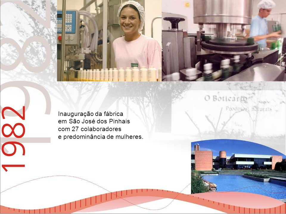 Inauguração da fábrica em São José dos Pinhais com 27 colaboradores e predominância de mulheres.