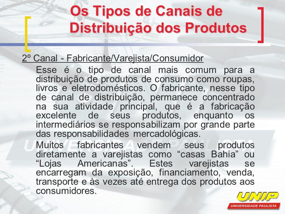Os Tipos de Canais de Distribuição dos Produtos 2º Canal - Fabricante/Varejista/Consumidor Esse é o tipo de canal mais comum para a distribuição de pr