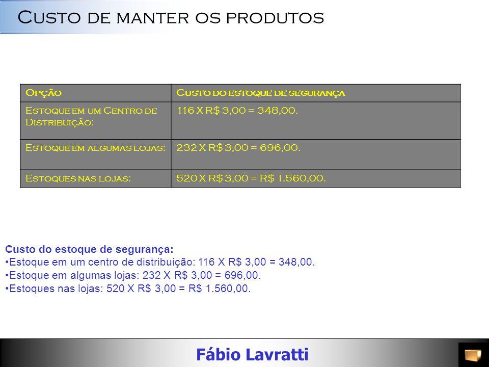 Fábio Lavratti OpçãoEstoque de segurança Estoque em um Centro de Distribuição:Aqui o sistema tem todo o estoque somente em um local. Estoque em alguma