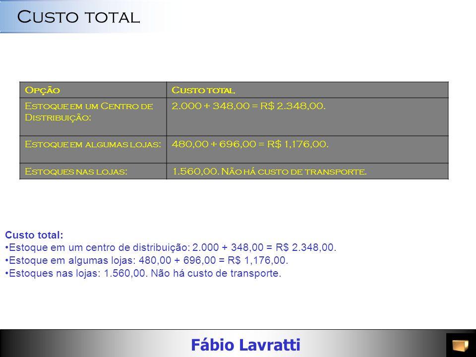 Fábio Lavratti OpçãoCusto do estoque de segurança Estoque em um Centro de Distribuição: 116 X R$ 3,00 = 348,00. Estoque em algumas lojas:232 X R$ 3,00