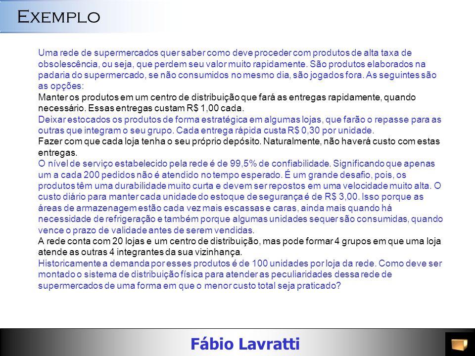 Fábio Lavratti Exemplo Uma rede de supermercados quer saber como deve proceder com produtos de alta taxa de obsolescência, ou seja, que perdem seu valor muito rapidamente.
