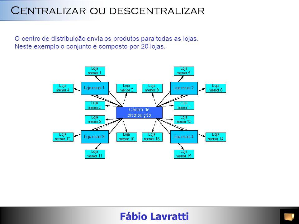 Fábio Lavratti Centralizar ou descentralizar O centro de distribuição envia os produtos para todas as lojas.