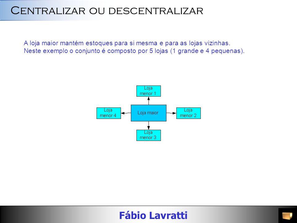 Fábio Lavratti Centralizar ou descentralizar O centro de distribuição envia os produtos para as lojas maiores. A partir daí, as lojas maiores abastece
