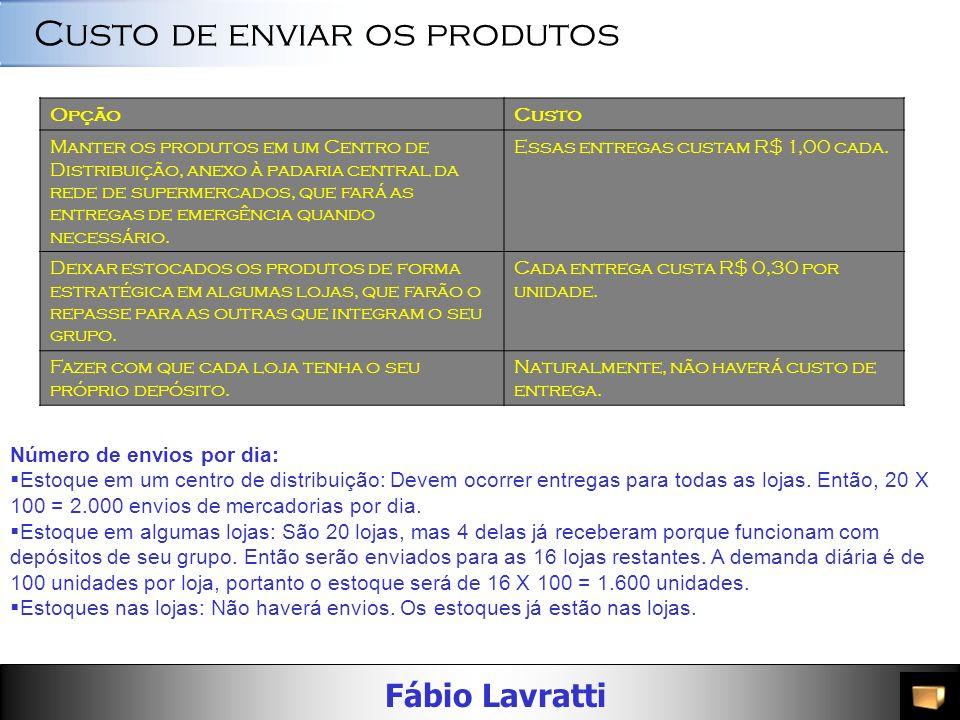 Fábio Lavratti OpçãoCusto Manter os produtos em um Centro de Distribuição, anexo à padaria central da rede de supermercados, que fará as entregas de emergência quando necessário.