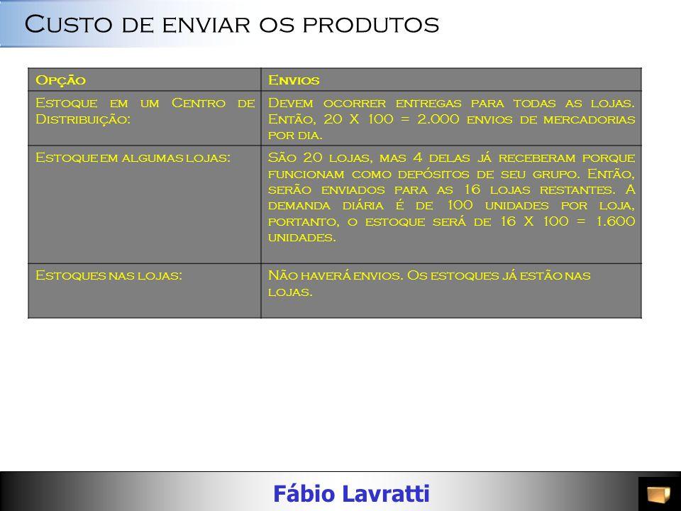 Fábio Lavratti OpçãoCusto Manter os produtos em um Centro de Distribuição, anexo à padaria central da rede de supermercados, que fará as entregas de e