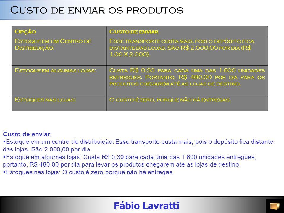 Fábio Lavratti OpçãoEnvios Estoque em um Centro de Distribuição: Devem ocorrer entregas para todas as lojas. Então, 20 X 100 = 2.000 envios de mercado