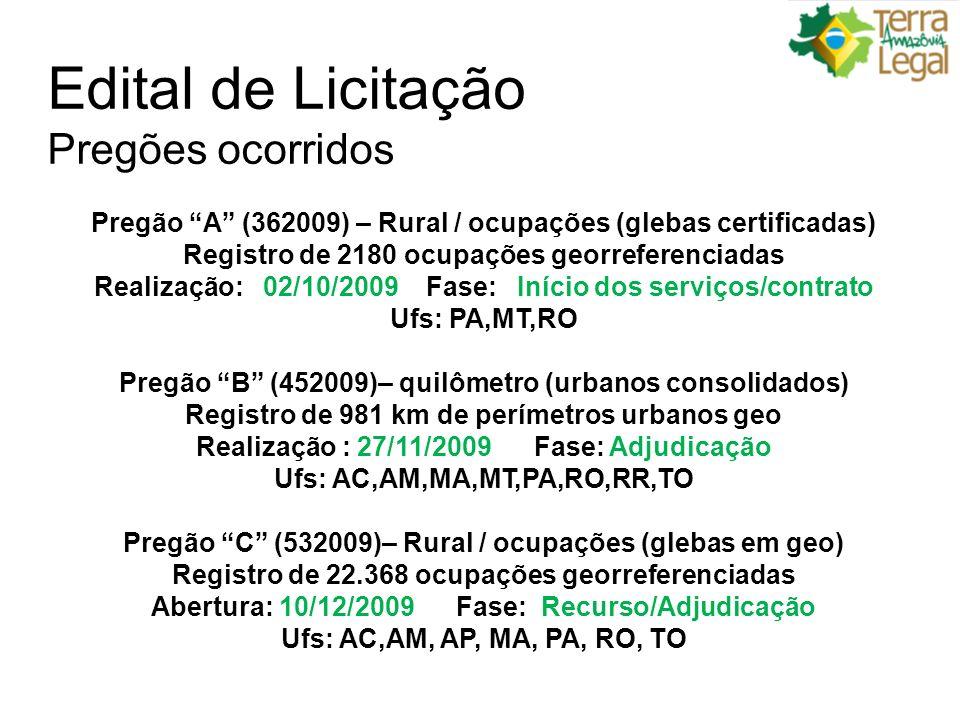 Edital de Licitação Pregões ocorridos Pregão A (362009) – Rural / ocupações (glebas certificadas) Registro de 2180 ocupações georreferenciadas Realização: 02/10/2009 Fase: Início dos serviços/contrato Ufs: PA,MT,RO Pregão B (452009)– quilômetro (urbanos consolidados) Registro de 981 km de perímetros urbanos geo Realização : 27/11/2009 Fase: Adjudicação Ufs: AC,AM,MA,MT,PA,RO,RR,TO Pregão C (532009)– Rural / ocupações (glebas em geo) Registro de 22.368 ocupações georreferenciadas Abertura: 10/12/2009 Fase: Recurso/Adjudicação Ufs: AC,AM, AP, MA, PA, RO, TO