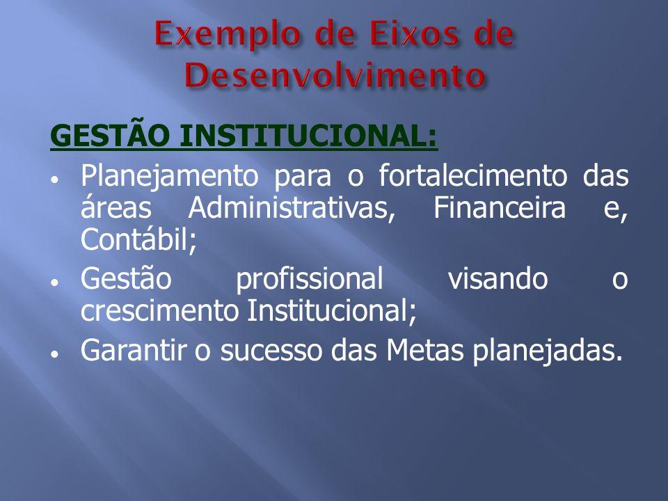 Exemplo de Eixos de Desenvolvimento GESTÃO INSTITUCIONAL: Planejamento para o fortalecimento das áreas Administrativas, Financeira e, Contábil; Gestão