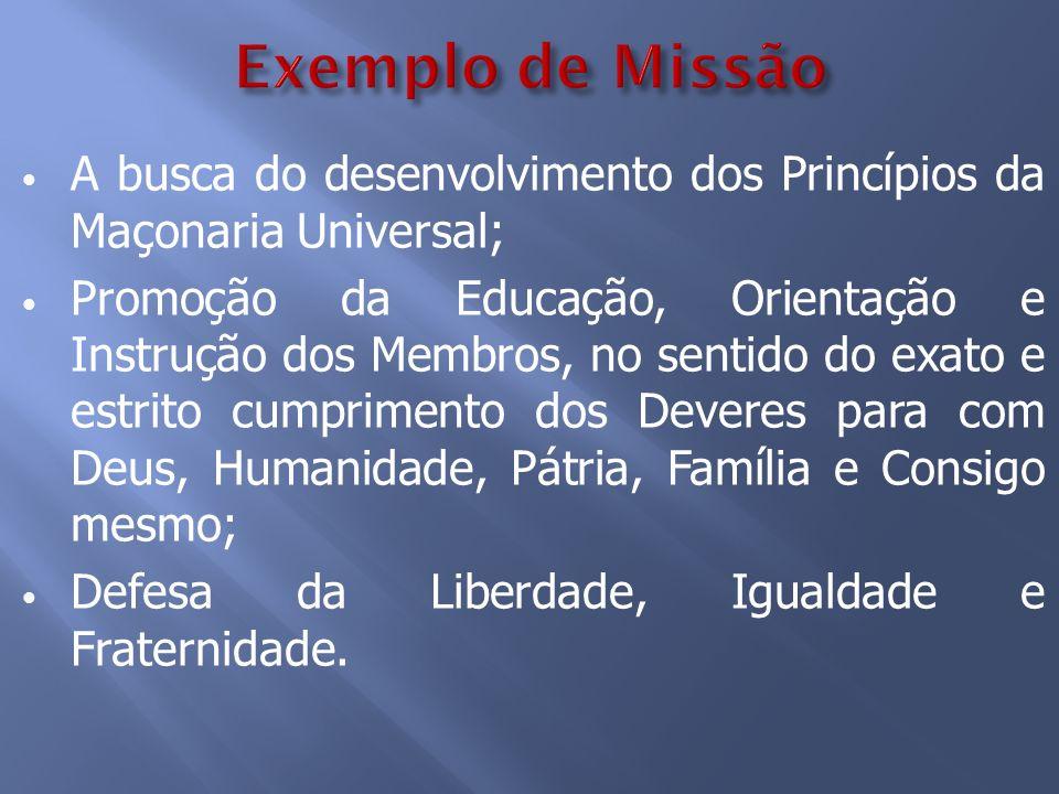 A busca do desenvolvimento dos Princípios da Maçonaria Universal; Promoção da Educação, Orientação e Instrução dos Membros, no sentido do exato e estr