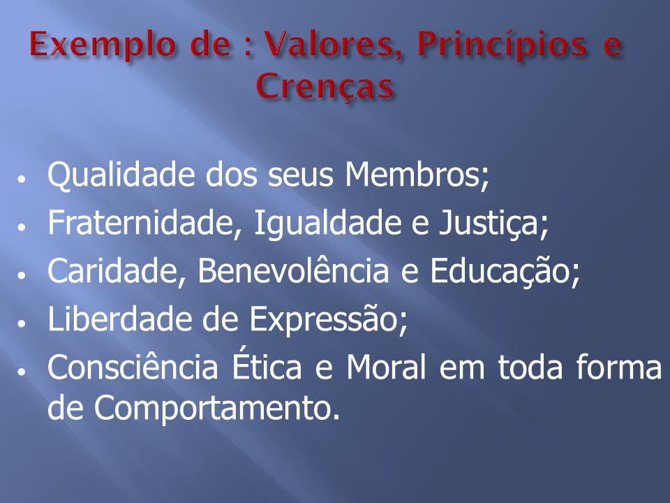 Qualidade dos seus Membros; Fraternidade, Igualdade e Justiça; Caridade, Benevolência e Educação; Liberdade de Expressão; Consciência Ética e Moral em