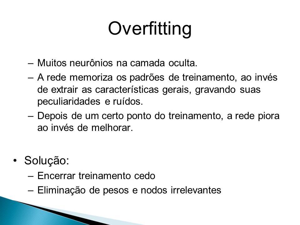 Overfitting –Muitos neurônios na camada oculta. –A rede memoriza os padrões de treinamento, ao invés de extrair as características gerais, gravando su