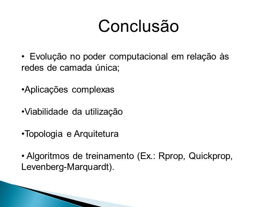 Conclusão Evolução no poder computacional em relação às redes de camada única; Aplicações complexas Viabilidade da utilização Topologia e Arquitetura