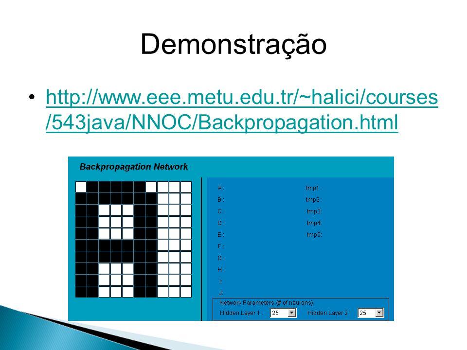 Demonstração http://www.eee.metu.edu.tr/~halici/courses /543java/NNOC/Backpropagation.htmlhttp://www.eee.metu.edu.tr/~halici/courses /543java/NNOC/Bac