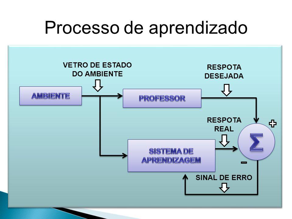 Processo de aprendizado Supervisionado Não-supervisionado Por reforço VETRO DE ESTADO DO AMBIENTE RESPOTA DESEJADA RESPOTA REAL SINAL DE ERRO