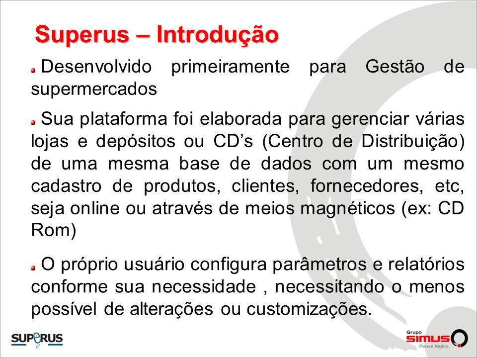 Superus – Introdução Desenvolvido primeiramente para Gestão de supermercados Sua plataforma foi elaborada para gerenciar várias lojas e depósitos ou C