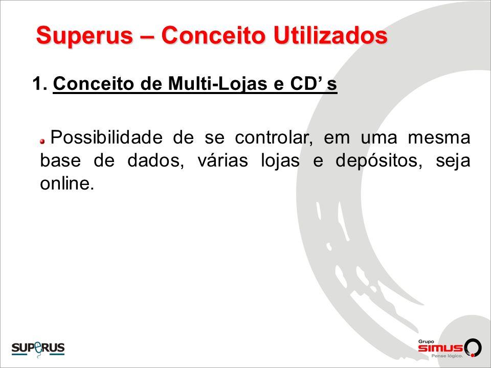 Superus – Conceito Utilizados 1. Conceito de Multi-Lojas e CD s Possibilidade de se controlar, em uma mesma base de dados, várias lojas e depósitos, s