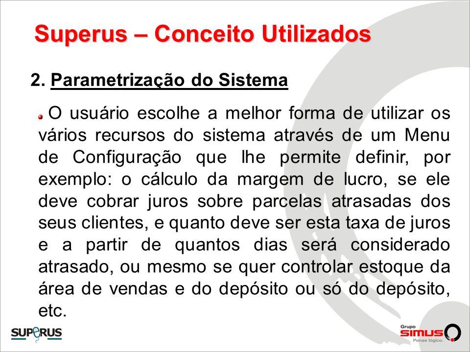 Superus – Conceito Utilizados 2. Parametrização do Sistema O usuário escolhe a melhor forma de utilizar os vários recursos do sistema através de um Me