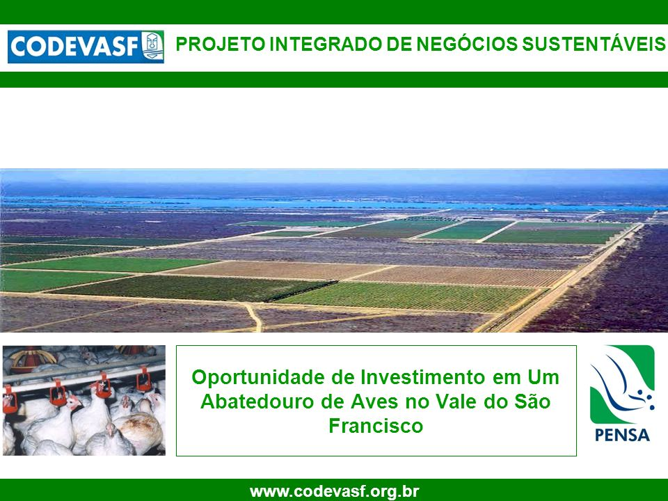 1 www.codevasf.org.br Oportunidade de Investimento em Um Abatedouro de Aves no Vale do São Francisco PROJETO INTEGRADO DE NEGÓCIOS SUSTENTÁVEIS