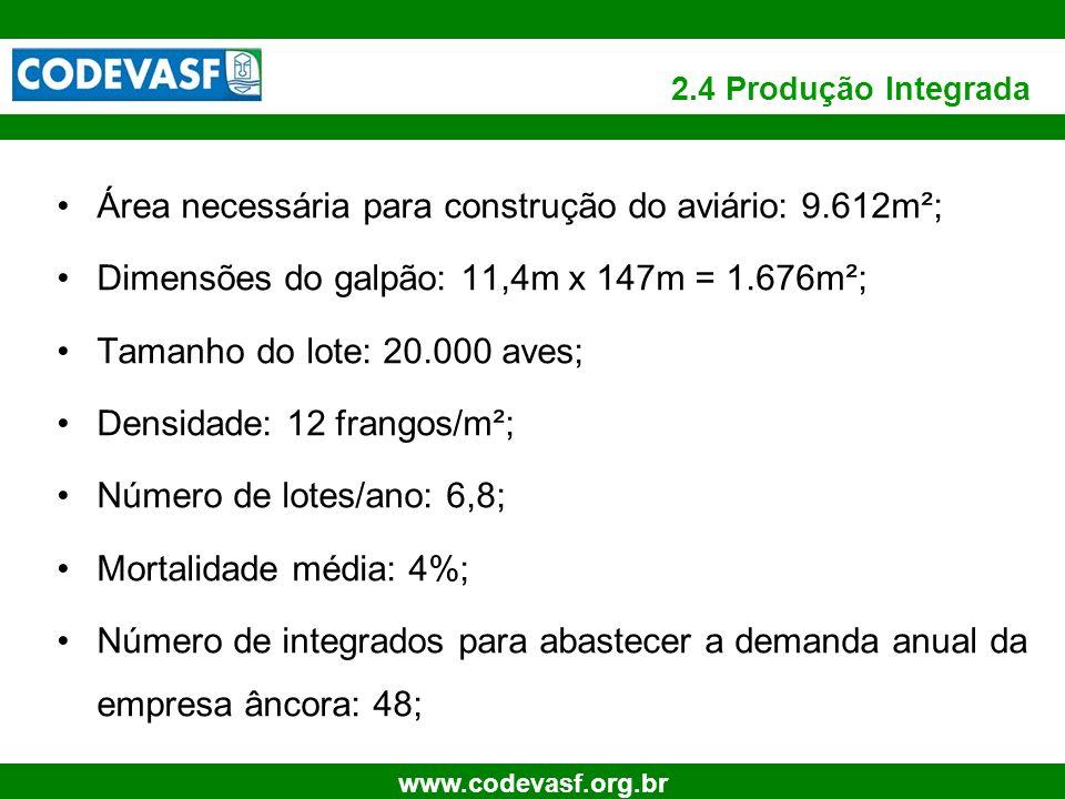 14 www.codevasf.org.br 2.4 Produção Integrada Área necessária para construção do aviário: 9.612m²; Dimensões do galpão: 11,4m x 147m = 1.676m²; Tamanh