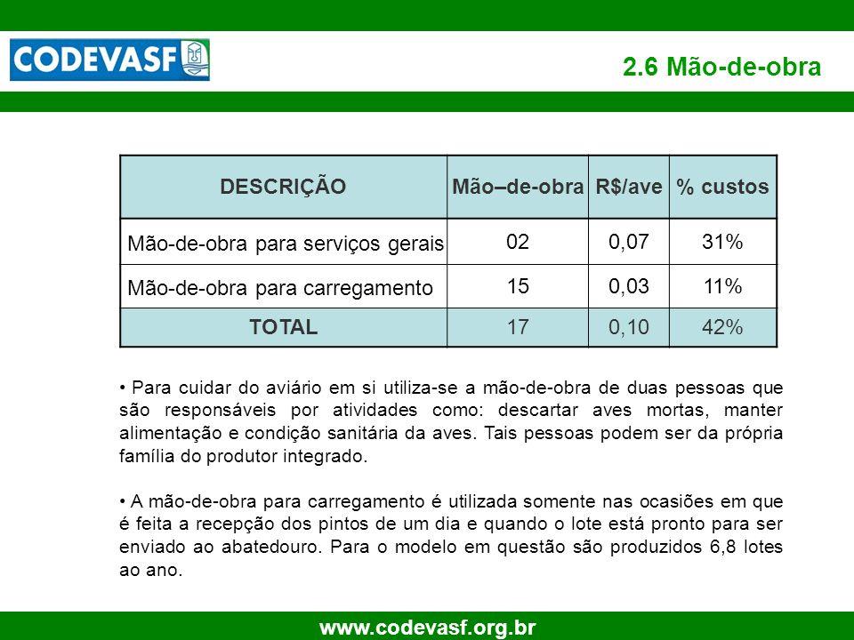 16 www.codevasf.org.br Para cuidar do aviário em si utiliza-se a mão-de-obra de duas pessoas que são responsáveis por atividades como: descartar aves