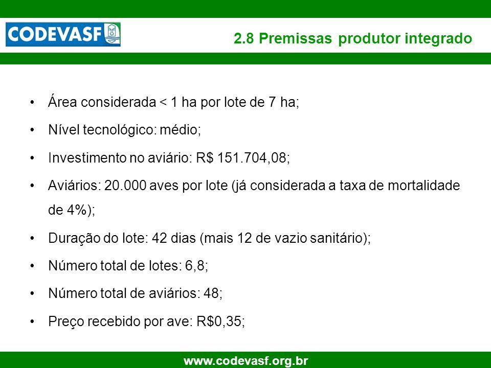 18 www.codevasf.org.br 2.8 Premissas produtor integrado Área considerada < 1 ha por lote de 7 ha; Nível tecnológico: médio; Investimento no aviário: R
