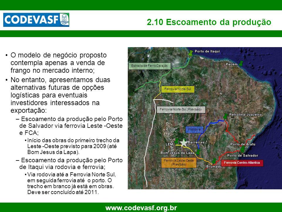 20 www.codevasf.org.br 2.10 Escoamento da produção O modelo de negócio proposto contempla apenas a venda de frango no mercado interno; No entanto, apr
