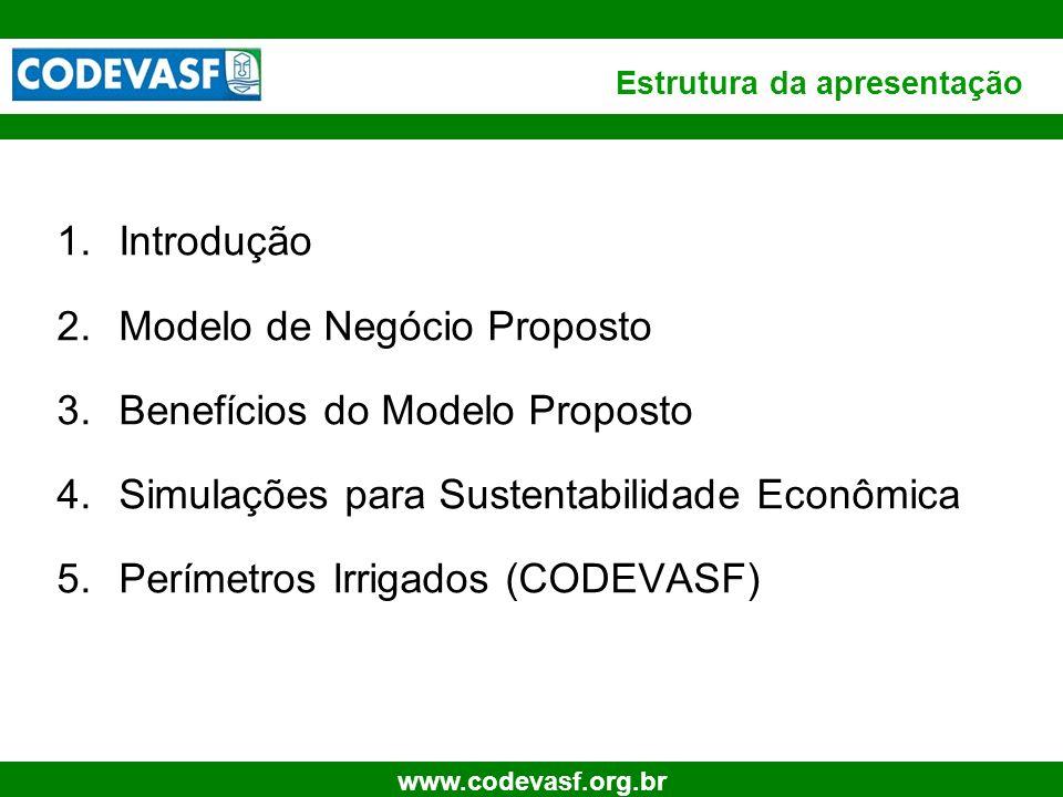 4 www.codevasf.org.br Estrutura da apresentação 1.Introdução 2.Modelo de Negócio Proposto 3.Benefícios do Modelo Proposto 4.Simulações para Sustentabi