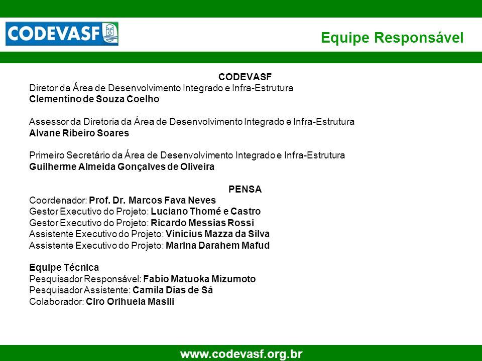 40 www.codevasf.org.br Equipe Responsável CODEVASF Diretor da Área de Desenvolvimento Integrado e Infra-Estrutura Clementino de Souza Coelho Assessor