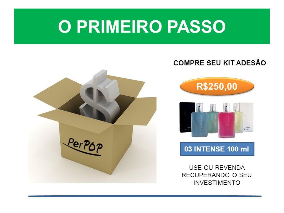 O PRIMEIRO PASSO COMPRE SEU KIT ADESÃO R$250,00 03 INTENSE 100 ml USE OU REVENDA RECUPERANDO O SEU INVESTIMENTO
