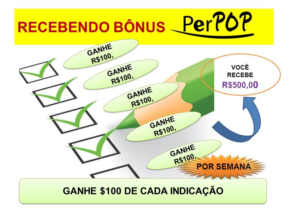 RECEBENDO BÔNUS GANHE $100 DE CADA INDICAÇÃO GANHE R$100, VOCÊ RECEBE R$500,0 0 POR SEMANA