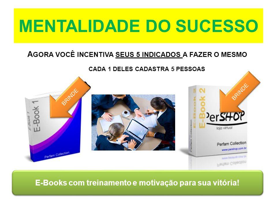 MENTALIDADE DO SUCESSO A GORA VOCÊ INCENTIVA SEUS 5 INDICADOS A FAZER O MESMO CADA 1 DELES CADASTRA 5 PESSOAS E-Books com treinamento e motivação para