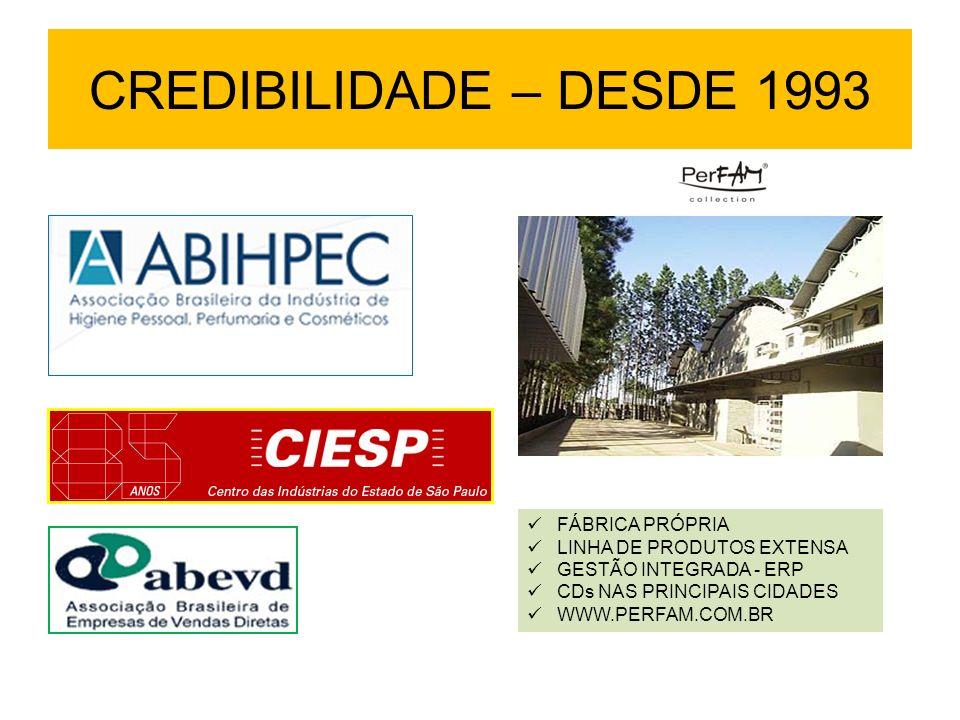 CREDIBILIDADE – DESDE 1993 FÁBRICA PRÓPRIA LINHA DE PRODUTOS EXTENSA GESTÃO INTEGRADA - ERP CDs NAS PRINCIPAIS CIDADES WWW.PERFAM.COM.BR